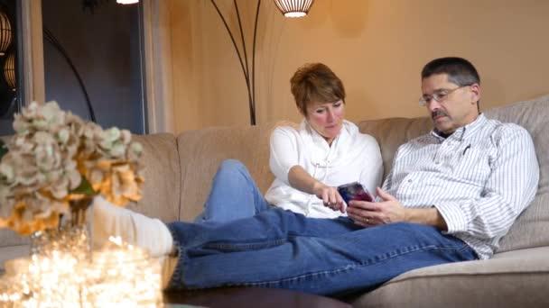 Husband Wife Enjoy Funny Text Message Smartphone Alt