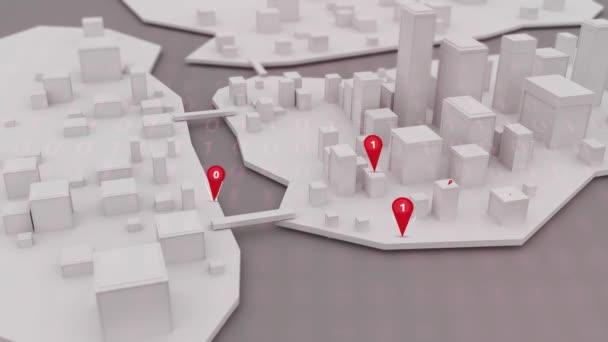 Virus Malware ikony vyskakování nad 3d modelovat město
