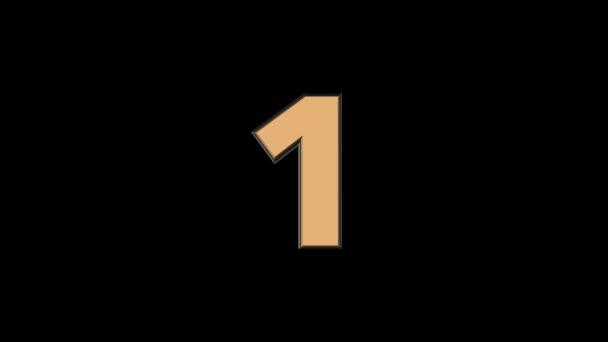 Egy - 3d animációs arany filmszerű szöveg szám alá tartozó