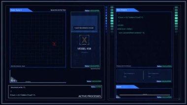 Futuristický digitální letový záznamník Black Box obrazovku nebo rozhraní pro skládání Pin roh