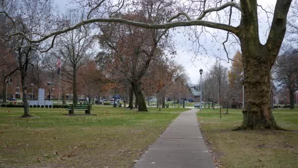 Létrehozó lövés a külvárosi park a Pennsylvania városban téli napon