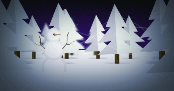 Cartoon sněhulák studené zimní les Holiday pozadí