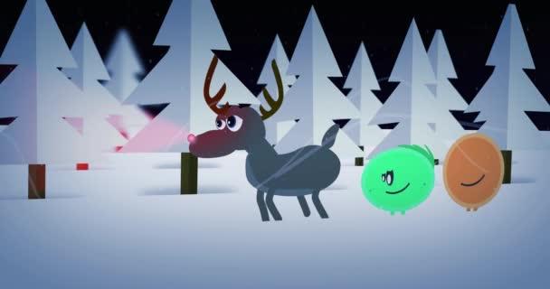 Általános lejátszás rajzfilm képernyők - rajzfilmek végigvigye rénszarvas téli erdő