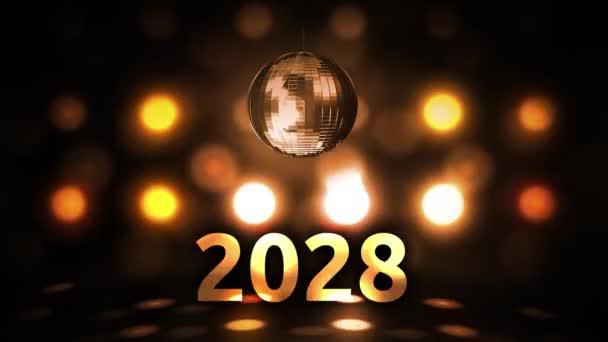 2028 Silvesterfeier Hintergrund Spinnen Disco Ball Nachtclub