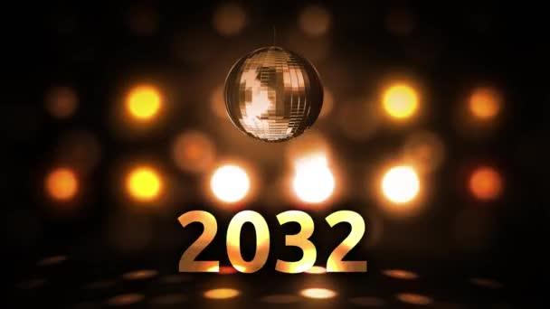 2032 Silvesterfeier Hintergrund Spinnen Disco Ball Nachtclub