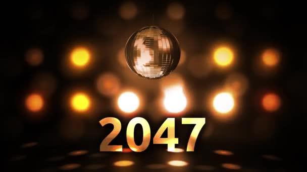 2047 szilveszteri ünneplés háttér fonásra a Disco Ball diszkó