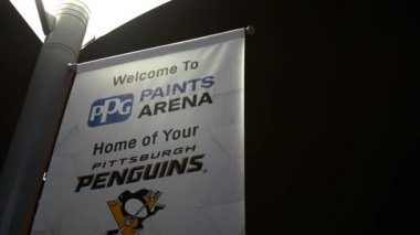 PITTSBURGH - Circa February 2018 - A Pittsburgh Penguins NHL Branded Flag standard near the PPG Paints Arena