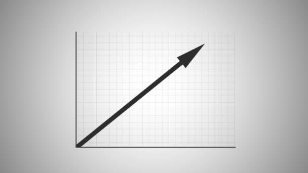 Filmový obecné obchodní graf - Arrow stoupá směrem k cíli úspěch - obsahuje luma matný