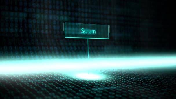 Software per Digital paesaggio definito tipografia con codice binario futuristico - Scrum