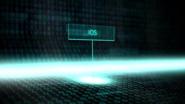 Digitální krajiny softwarově definované typografie s futuristickou binárního kódu - ios