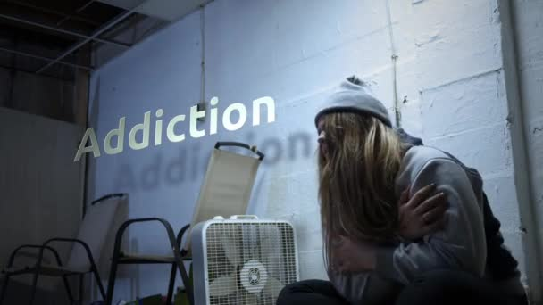 A addict is struggling with withdrawal symptoms with text - Addiction