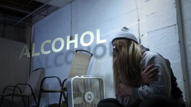 A addict is struggling with withdrawal symptoms with text - Alcohol