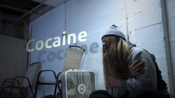 A addict is struggling with withdrawal symptoms with text - Cocaine