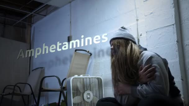 A addict is struggling with withdrawal symptoms with text - Amphetamines