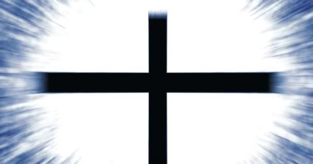 Spiritualitás Christian Cross Symbol over izzó sugár háttér - filmszerű kék változat