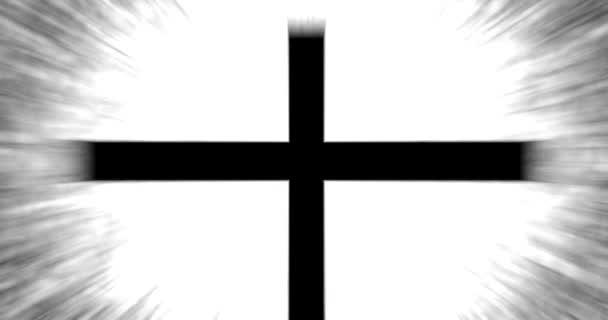 Spiritualitás Christian Cross Symbol over izzó sugár háttér - mozi fekete-fehér változat