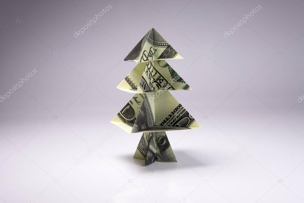Money Origami Christmas tree Stock Photo: 219086047 - Alamy | 683x1023