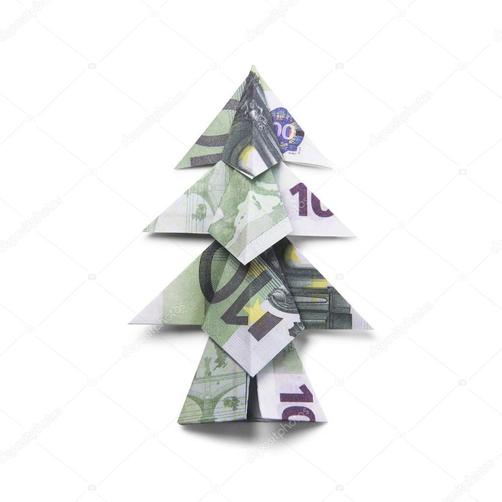 Geld Origami Kerstboom — Stockfoto © artbutenkov #129989560 - photo#5