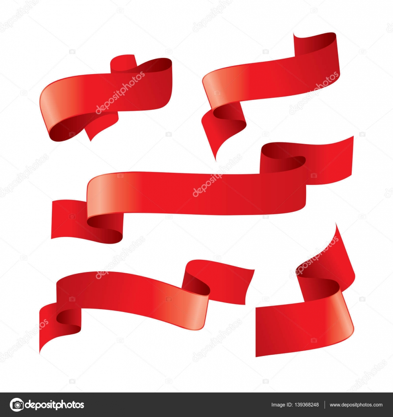 set of red vector ribbons stock vector artbutenkov 139368248 rh depositphotos com vector ribbon bow victor ribbons little league