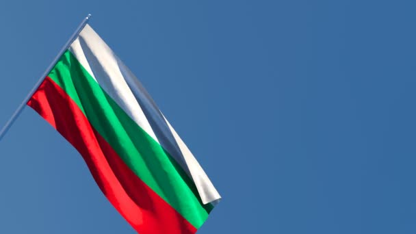 The national flag of Bulgaria is flying in the wind