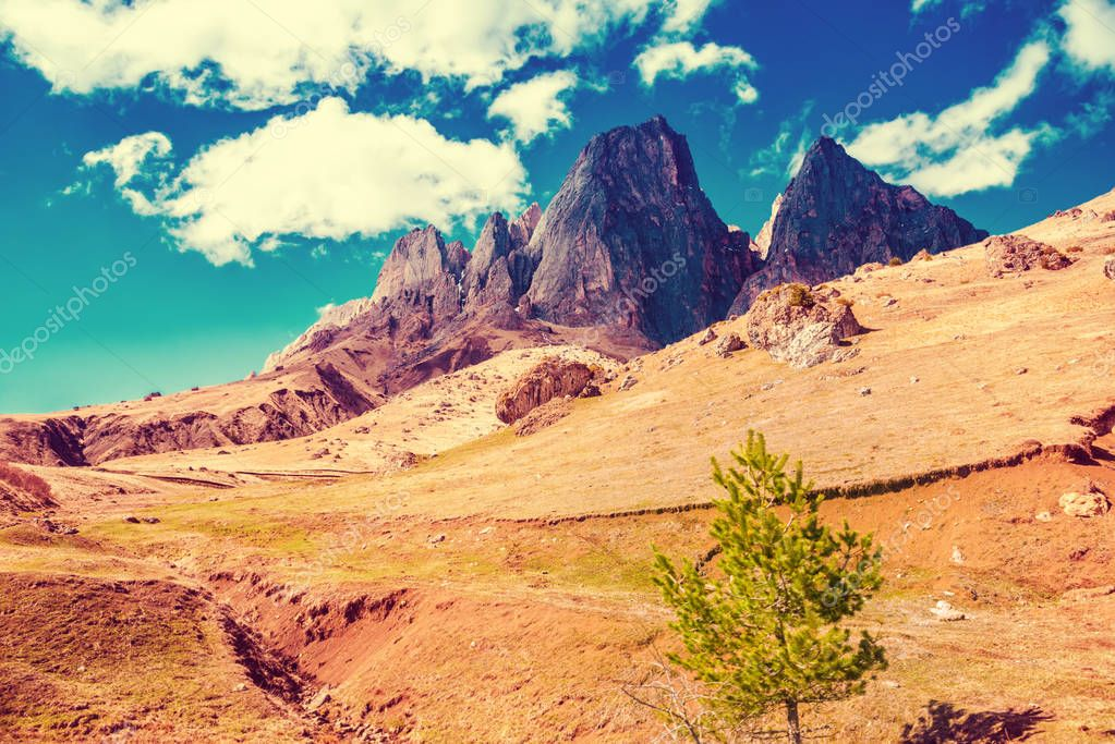 beautiful landscape of deserted mountains with blue sky, Russia,