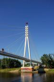 Tyumen, Rusko - 15. července 2018: Most milenců. Pěší most přes řeku Turu.