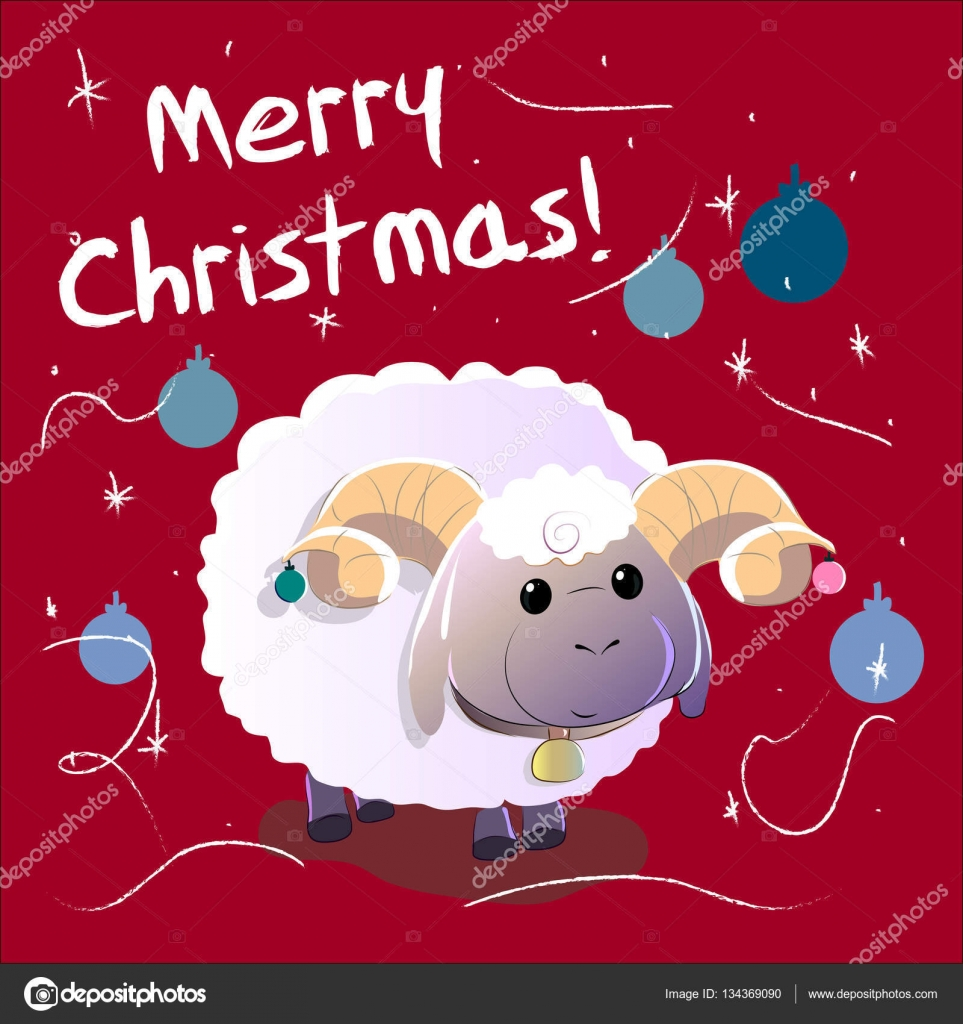 greeting card with sheep text merry christmas and happy new year stock vector