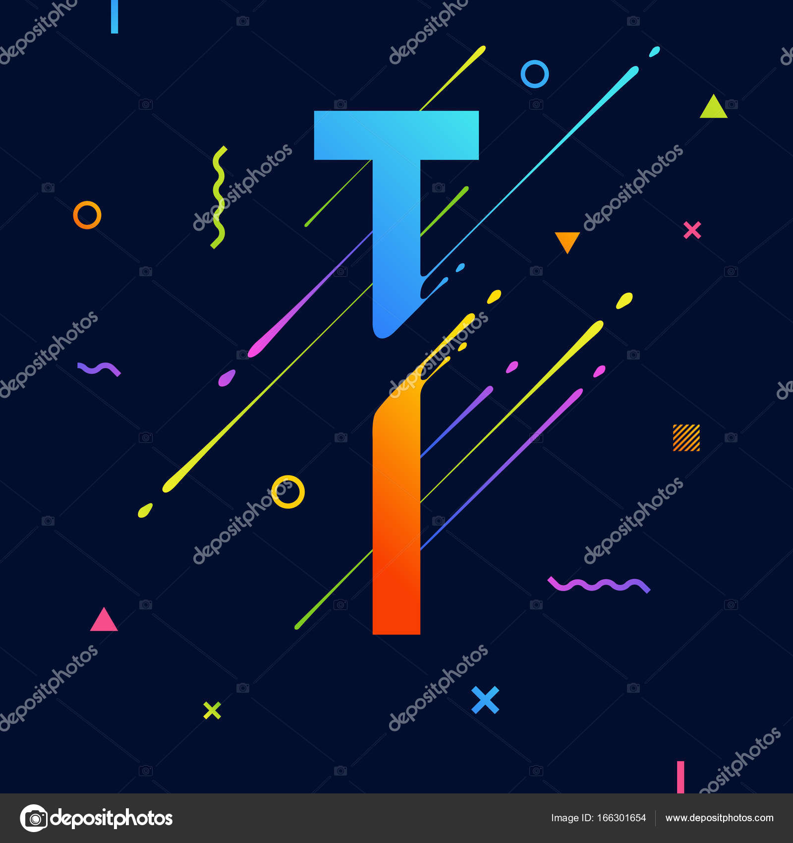 modern abstract colorful alphabet with minimal design. letter t