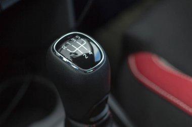 Gear stick for manual transmission car closeup