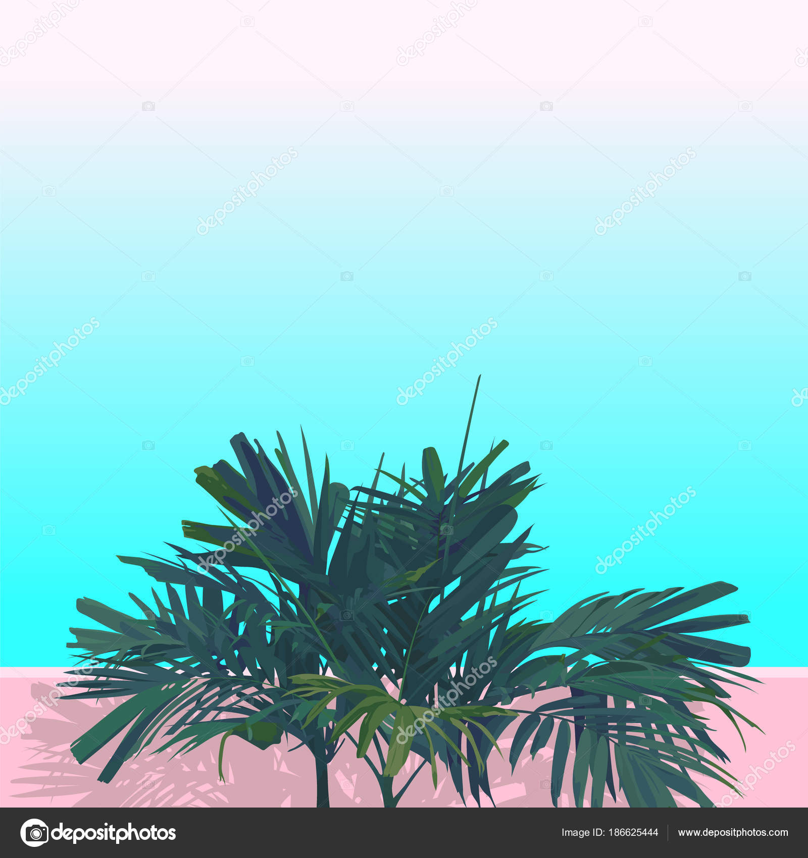 Vector Flat Style Areca Palm Isolate Pastel Pink Blue Background Stock Vector C Summercandy 186625444