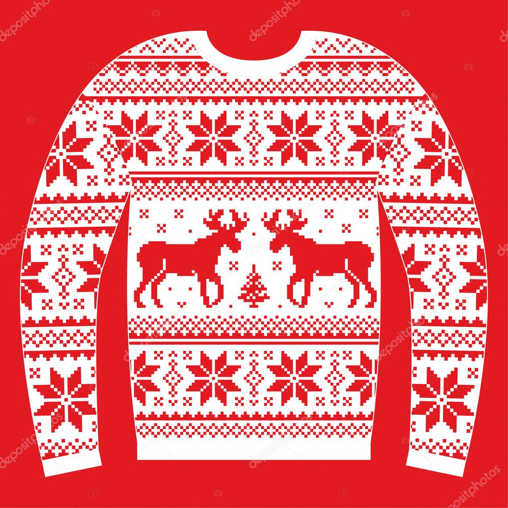 5690caca9d74 Ugly Christmas jumper or sweater with reindeer and snowflakes red and white  pattern — Stock Vector