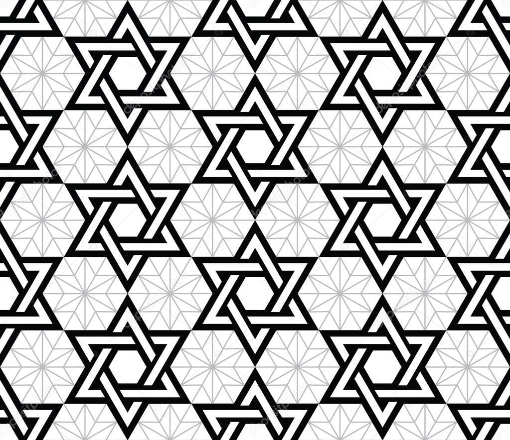 Judía, estrella de David negra de patrones sin fisuras — Vector de ...
