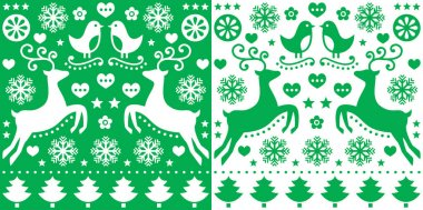 Christmas green greetings card pattern with reindeer - folk art style