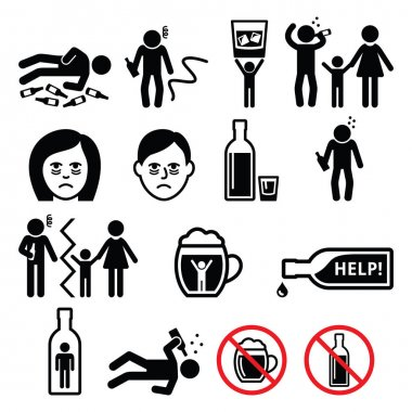 Alcoholism, drunk man, alcohol addiction icons