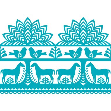 Vector repetitve design with horses, birds, trees and flowers - folk design stock vector