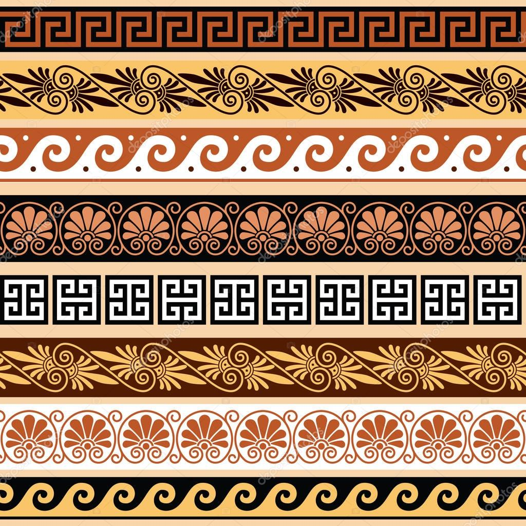Ancient greek pattern seamless set of antique borders from vector repetitive design greek vase patterns isolated on white vector by redkoala reviewsmspy