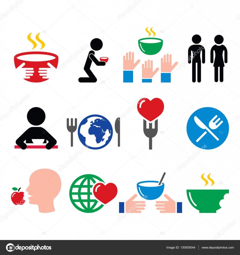 Poverty Symbols Hunger Starvation Poverty Icons Set Stock