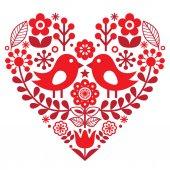 Valentýna lidový vzor s ptáčky a kytičky - finské inspiroval