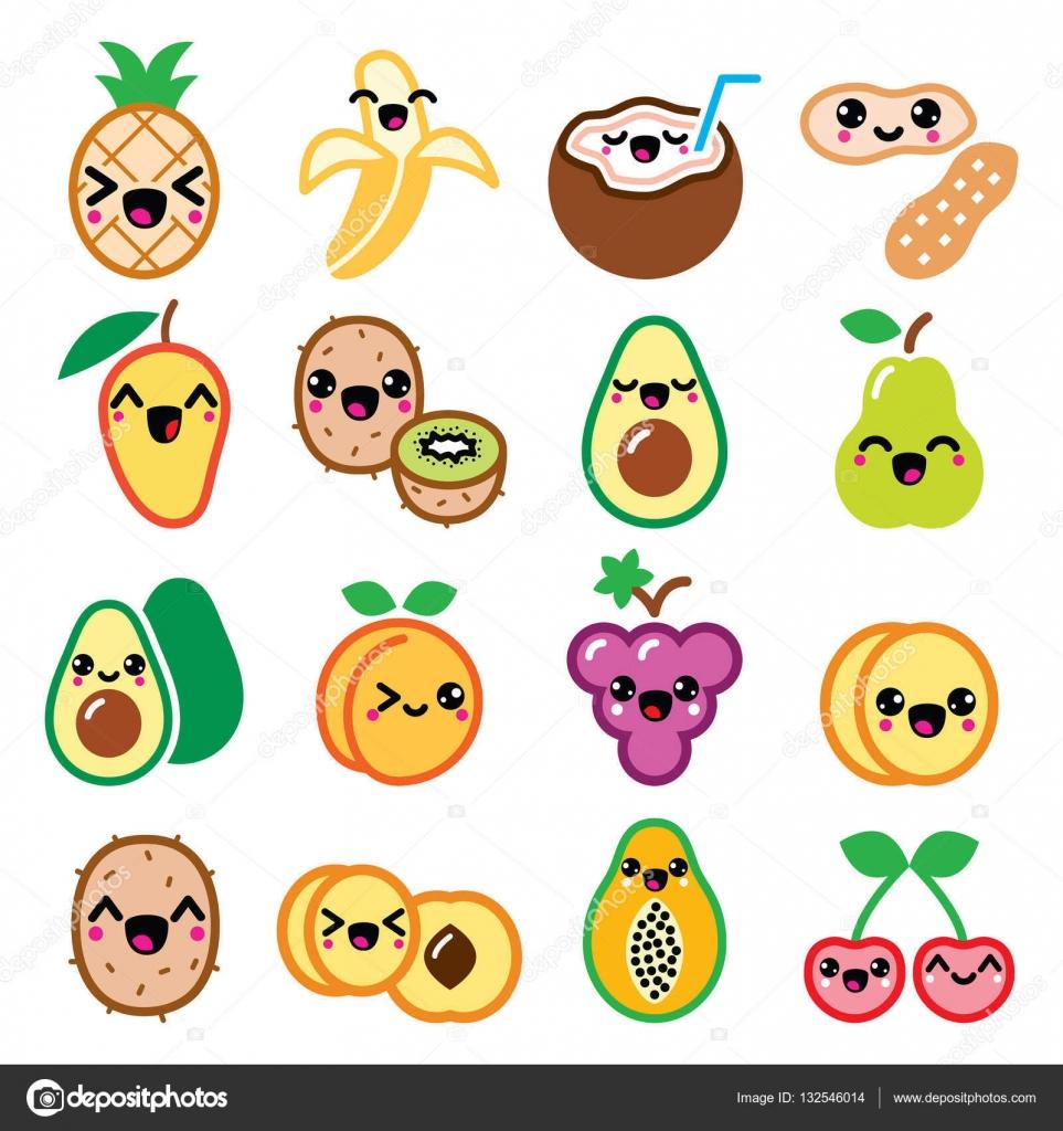 Kawaii Fruit Kawaii Fruit And Nuts Cute Characters Icons Set Stock Vector C Redkoala 132546014