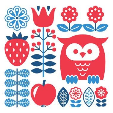Finnish inspired folk art pattern - Scandinavian, Nordic style