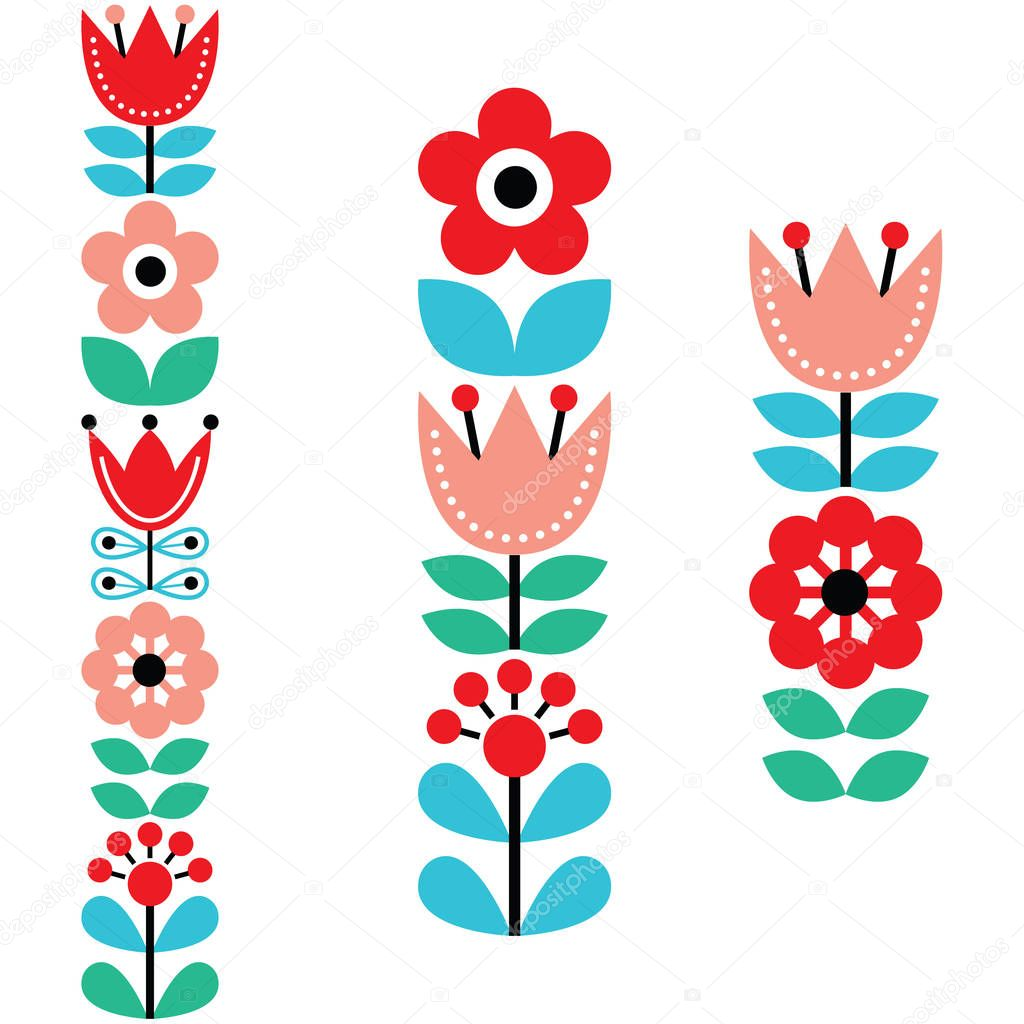 Finnish inspired long folk art pattern - Nordic, Scandinavian style