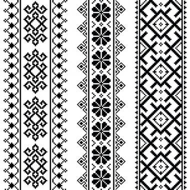 Ukrainian, Belarusian black embroidery seamless pattern - Vyshyvanka
