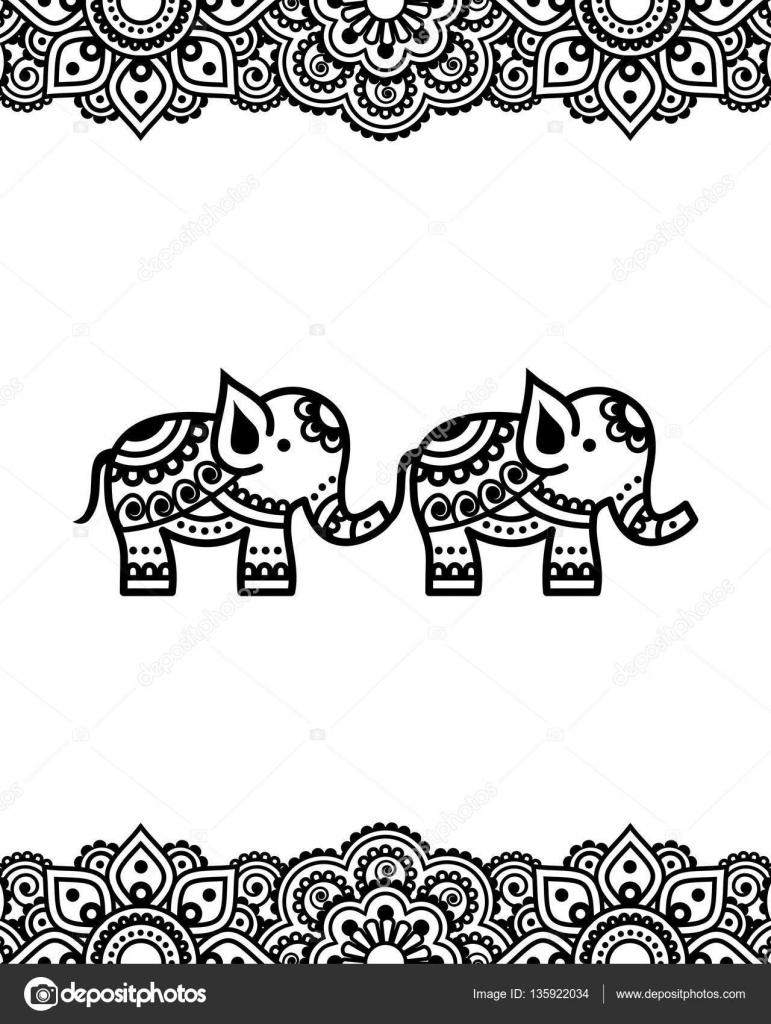 Mehndi Indian Henna Tattoo Design With Elephants
