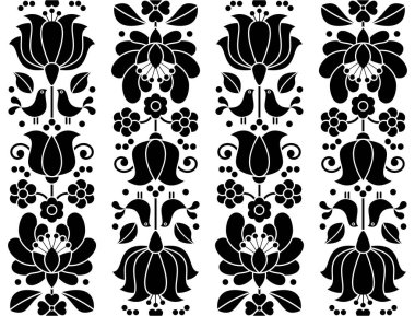 Seamless floral pattern - Kalocsai embroidery - traditional folk design from Hungary