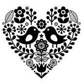 Fotografie Lidové umění vzorek s ptáčky a kytičky - finská inspirace, den svatého Valentýna