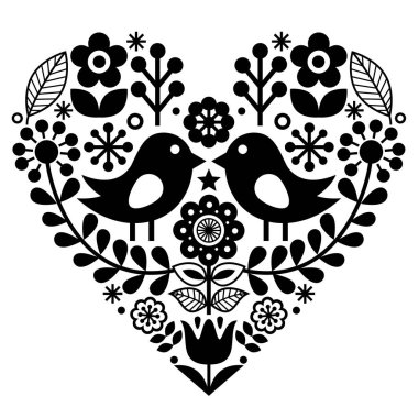 Folk art pattern with birds and flowers - Finnish inspired, Valentine's Day stock vector