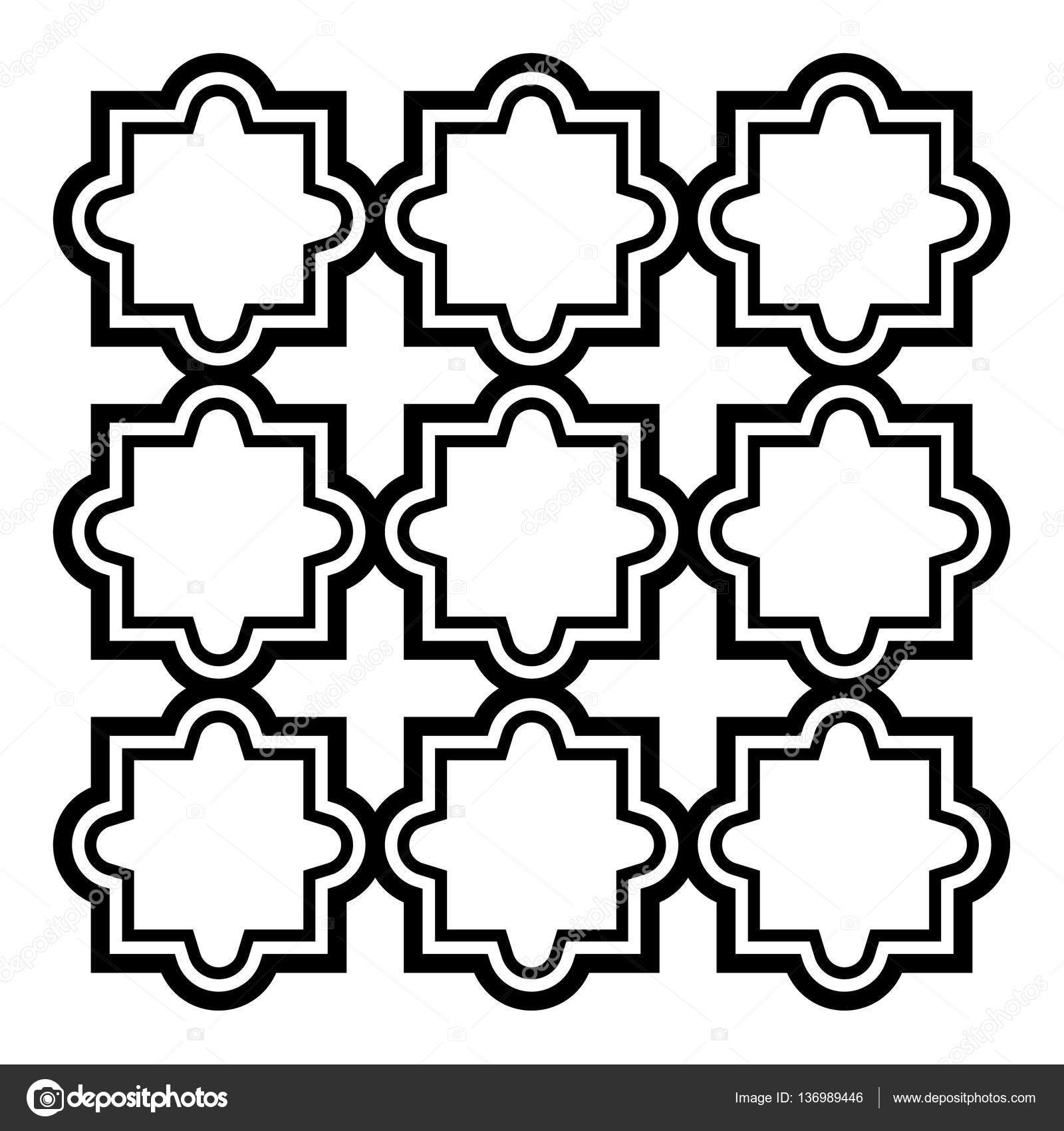 Arabic seamless pattern set - Islamic design, black and ...