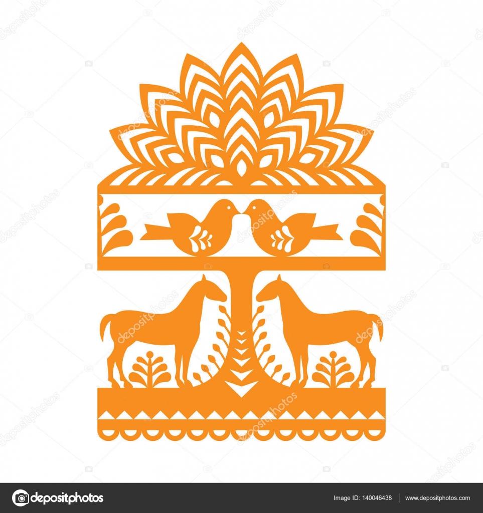Seamless Polish folk art orange pattern Wycinanki Kurpiowskie ...