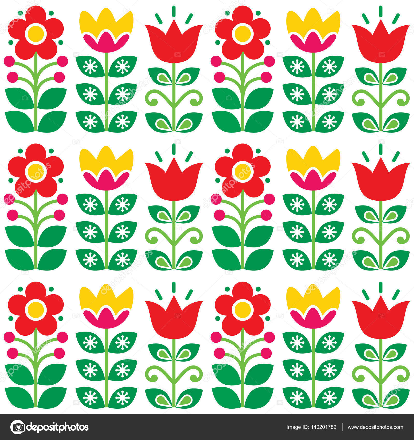 Schwedische traditionelle muster  Retro-Blumenmuster - traditionelle Volkskunst design — Stockvektor ...