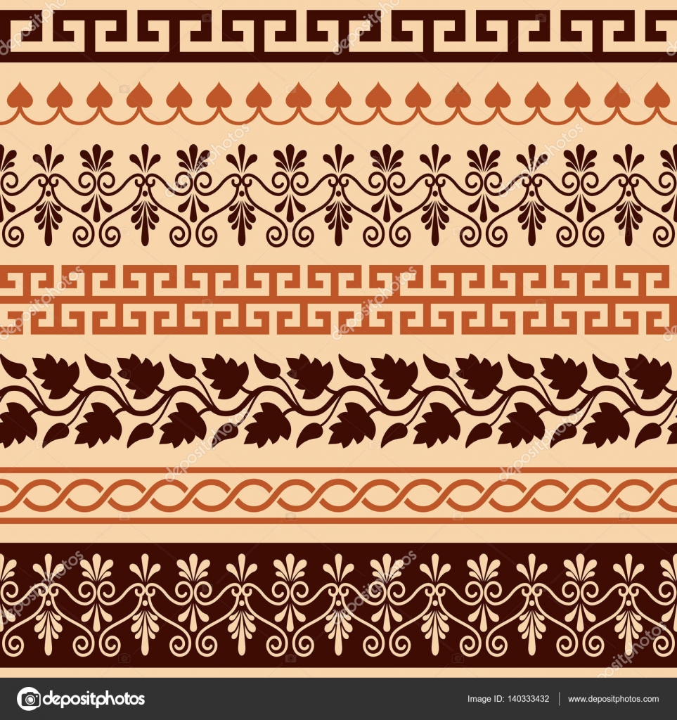 Ancient greek pattern seamless set of antique borders from vector repetitive design greek vase brown patterns isolated on white vector by redkoala reviewsmspy